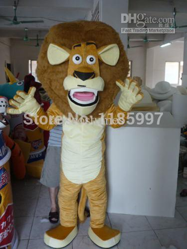 HOT SALE Special Accept Custom funny big head brown lion Halloween animal Mascot Costume Fancy Dress Animal free shipping(China (Mainland))