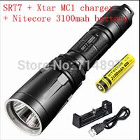 Free shipping Nitecore SRT7 CREE XM-L2 T6 LED smart selector ring flashlight  + xtar mc1 charger +Nitecore 3100mah nl188 battery