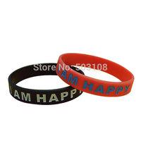 Debossed and Ink Filled I AM HAPPY Silicone Bracelets/New Design Promotional Gifts Bracelets