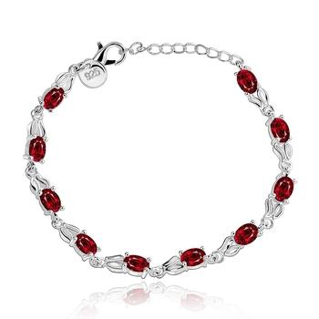 Красивые женщины красный циркон прядь браслет серебро 925 роскошные женщины ювелирные ...