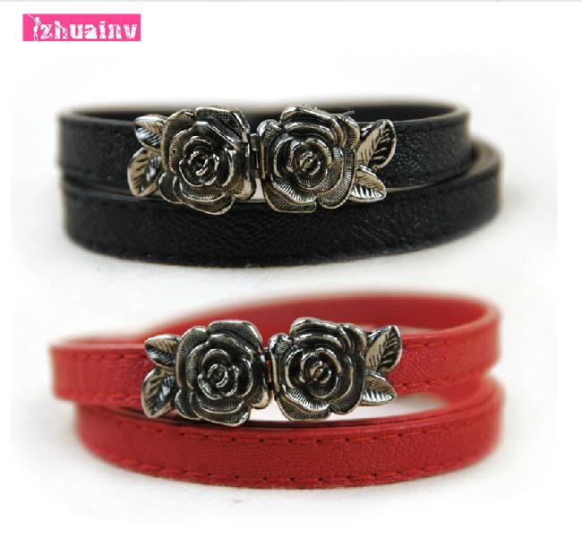 2015 European and American fashion retro roses beautifully decorated buckle Slim thin belt female leather belt(China (Mainland))