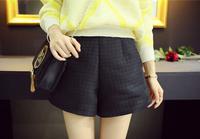 2014 New Fashion Free shipping Loose leisure Pure Color Girls Rhombus All Matching Slim Short Black