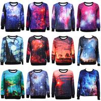 2014 Women / Men Fashion Coat Galaxy Digital Printed Pullover 3D Sweatshirts, Ladies hoodies clothing for sports 11003C.