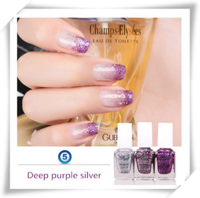 3pcs/set Two Gradual Color Gradual Purple Nail Polish Free Shipping(China (Mainland))