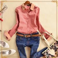 2015 Ladies Blouses & Shirts Women Blouse Shirt 100% Cotton Clothing Body Crochet Polka Dot Female Shirts Vintage Brand Spring