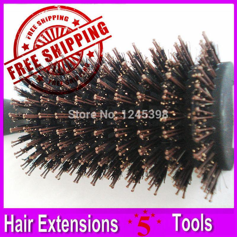 1 Piece Boar Bristle Hair Brush Comb, Black Handle with Boar Bristle coated Nylon Stick(China (Mainland))