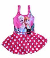 Cartoon Princess Printed Girls Swimwear:Retro Polka Dot Frozen Swimwear Kids Girls Casual Bikini Infantil one Piece Swimsuit