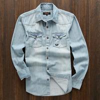 New Men's Washed Denim Shirts Fashion Autumn Men Jeans Shirt Tops For Male Long Sleeve Casual Shirt Tops Slim Fashion Shirt