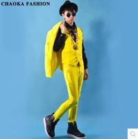 Cool beautiful lemon yellow suit vest set clothes