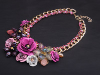 Europe and the United States color flower pendant cotton rope woven necklace short clavicle exaggerated female accessories