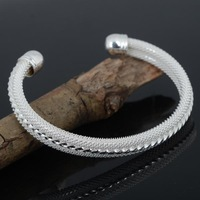Fashion Jewelry Silver Mesh Bangle Bracelet Cuff For Women Silver Plated Edge Open Bangle Bracelet For Gift