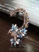 European style Gun Black Blue Rhinestone Flower Bird (Left ) Ear Cuff Clip jewelry punk 10pcs/lot LP-251
