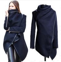 5 Colors 2014 Women Coat autumn Winter Woolen Long Sleeve Overcoat Fashion Trench Desigual Woolen Coat Casacos  S-XXXL DT266