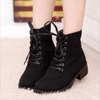 2014 winter velvet short boot thick heels wild black matte female shoes Miss boots ol free shipping HR998