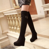 free shipping wedges shoes winter boots round toe side zipper ultra high heels boots snow boots