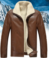 Top Quality Mens Slim Genuine Real Sheepskin Leather Thick Lamb Wool Fur liner Lapel Padded jacket coat  Winter Warm Outerwear