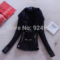free shipping new wool neck jackets 2015 women fur coat autume winter hoodies blazer feminino clothes chaquetas mujer tops