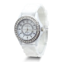 C18 hot-selling newest Geneva Fashion Crystal Jelly Gel Silicon Girl Women's Quartz Wrist Watch White Free Shipping