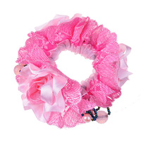 New Chiffon Hair Scrunchies Voile Rose Flower Elastic Hair Bands Lace Trim Stretchy Ponytail Holder Ties Free Shipping B006