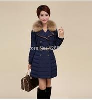 Winter women cotton down padded middium long jacket large fur on cap women snowwear with belt
