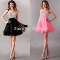 Free Shipping Sexy Shining Black Pink Purple High Low Rhinestone Short Mini Prom Dress Birthday Sweetheart 4105