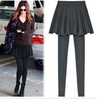 2014 Winter Hot Selling Women Warm Leggings Casual Pleated Skirt Leggings High Stretch Slim Within Fleece Pants YSK030