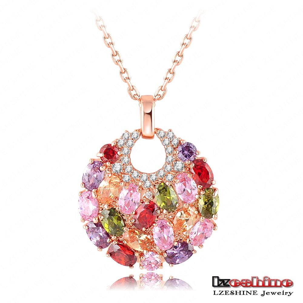LZESHINE Brand 18K Rose Golden Plated Luxury Necklaces Pendants Inlay Multi Color AAA Swiss Cubic Zircon