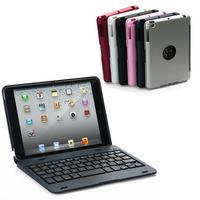 Free shipping  Ultra Slim Aluminium Bluetooth Keyboard W/cover case for ipad Mini 2/mini
