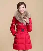 Winter women cotton down padded middium long jacket large fur on cap women snowwear with belt natural fur on cap