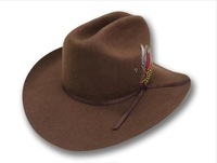 1pcs free shipping 100% geniue western cowboy wool felt hat  brown color /feather and leather decoration 54-57CM Hat size