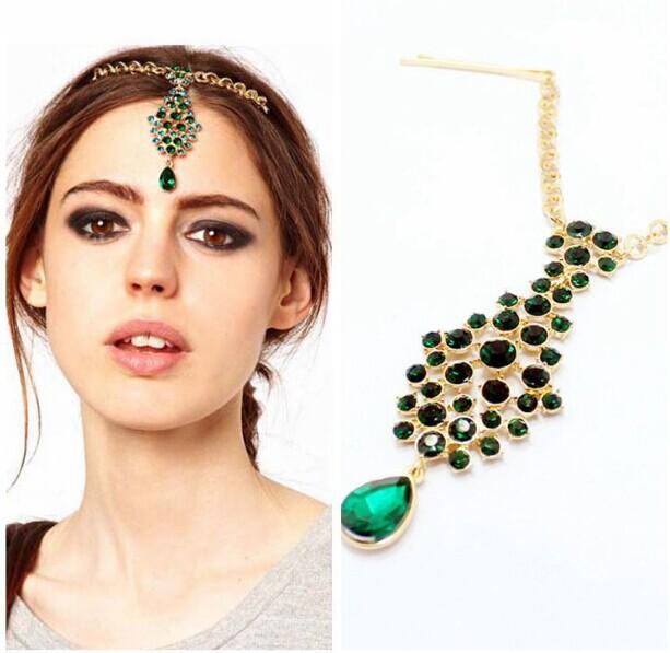 Vintage emerald wedding hair accessories green crystal Rhinestone decoration head chain forehead jewelry tikka headpiece(China (Mainland))