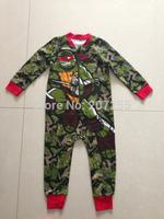 Free shipping children clothing kids Teenage Mutant Ninja Turtles  boy Camouflage long full  romper onesies pajamas pyjamas