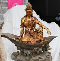 """19"""" Chinese Bronze Gilt Kwan-yin Guanyin Guan Yin Shakyamuni Boat Buddha States"""