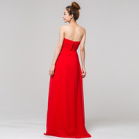 Red fall to the ground long section of the bride evening toast evening dress Bra crystal fashion Korean Annual Meeting