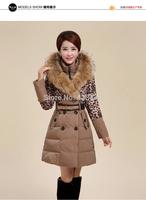 CBRL! Ladies Very Warm Winter Raccoon Fur + Rabbit Fur Collar Coat Women Leopard Print Thicken Parka Genuine Fur Down Coat
