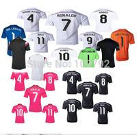 2015 Real Madrid white Pink Black Jersey soccer 14 15 Real Madrid Ronaldo BALE KROOS JAMES Sergio Ramos Football shirt Training