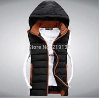 2014 European and American fashion new winter Korean men hooded down vest plus size Slim cotton vest  Free Shipping