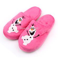 2014 del NUEVO Kid Slipper Frozen Olaf Inspirado envío niños del invierno suave felpa zapatillas rosas gratuito(China (Mainland))