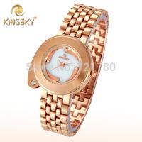 Newest Kingsky Woman Relogio Feminino Diamond Quartz Wristwatch Fashion Luxury Watch Women Steel Bracelet Rose Gold Dress Watch