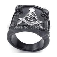 Topearl Jewelry Mens Stainless Steel Ring Vintage Heavy Freemason Masonic Black Silver MER05-23
