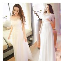 Free Shipping European and American star models white O neck short sleeve beaded chiffon Long dress, ladies dresses evening