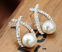 Full Rhinestones New Cross Earrings Stylish Pearl Earrings