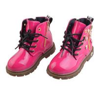 2014 Winter children girls pu leather martin boots kids girls tiger head snow boots punk ankle boots DZ4035