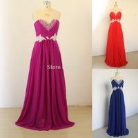 Hot Sale 2014 women dress strapless Sweetheart A-Line Empire Sleeveless Beading Bridesmaid Dresses Chiffon