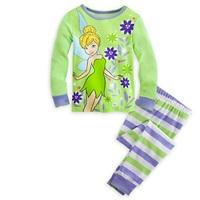 Retail 2014  Tinker bell 2 Pcs Set Kids Sleepwear Suit  Girl Pajamas Pajama Children   Fit 3-10 age
