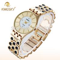 Kingsky Luxury Relogio Feminino Diamond Fashion Gold Watch Women Steel Bracelet Dress Watch Ladies Quartz Clock Women Wristwatch