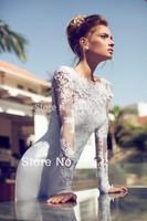 New Design Long Dress Beaded Backless Wedding Dress Gown Custom Made 2015