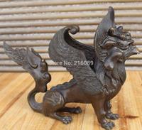 "11"" Chinese Bronze Fengshui Flying Dragon Kylin Beast Chi-lin Unicorn Statue"