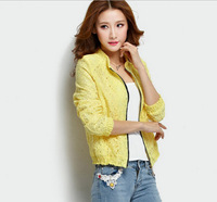 2014 New Fashion Free shipping High Quality Lace Leisure Zipper Embellished Coat Pure color Pink/Yellow