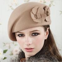 High Quality! 2015 New Fashion Winter Warm Wool Soft Women's Flower Floral Rabbit Fur Berets Beanie Ski Hats Caps